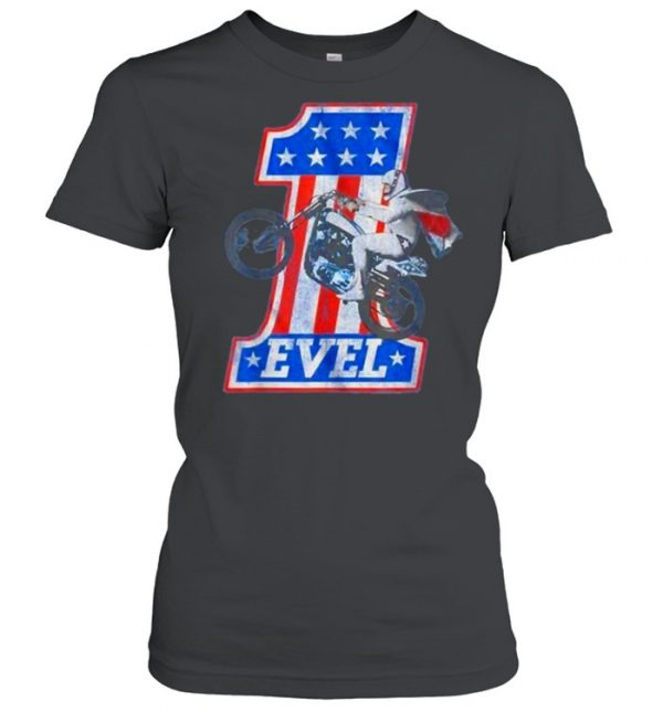 Evel Motorcycle American Flag One Number T-Shirt Classic Women's T-shirt