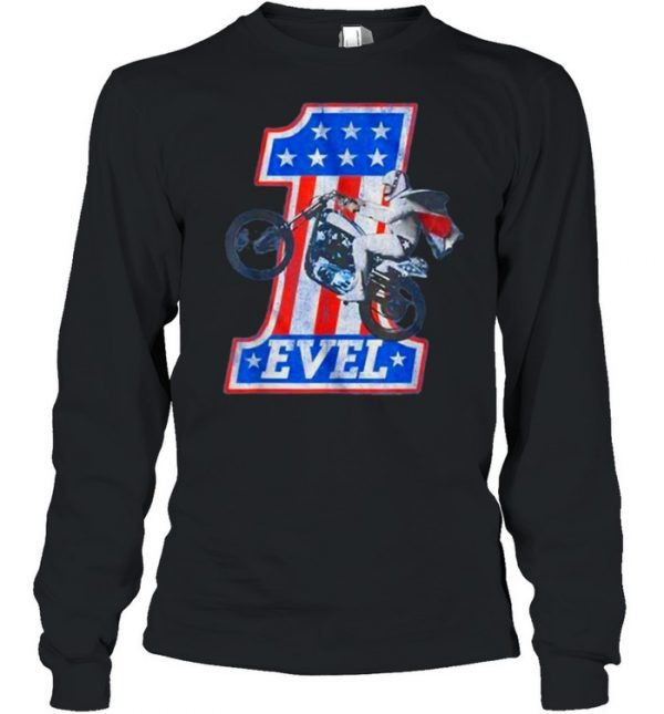 Evel Motorcycle American Flag One Number T-Shirt Long Sleeved T-shirt