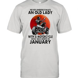 Never Underestimate An Old Lady With A Motorcycle Who Was Born In January Blood Moon Shirt Classic Men's T-shirt
